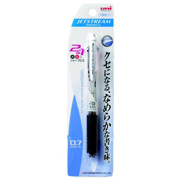 ジェットストリーム多機能ボールペン 2色+シャープ 0.7mm MSXE3-500-07 透明 2本 三菱鉛筆uni (直送品)