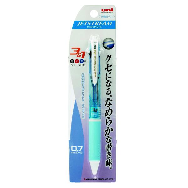 ジェットストリーム多機能ボールペン 3色+シャープ 0.7mm MSXE4-600-07 水色 2本 三菱鉛筆uni (直送品)