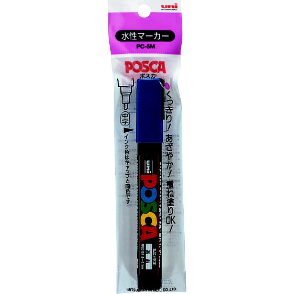 ポスカ 中字 青 PC5M1P.33 水性マーカー 5本 三菱鉛筆uni (直送品)