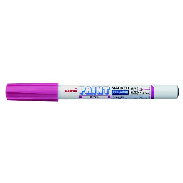 三菱鉛筆(uni) アルコールペイントマーカー 細字 桃 油性マーカー PXA-210 5本 (直送品)
