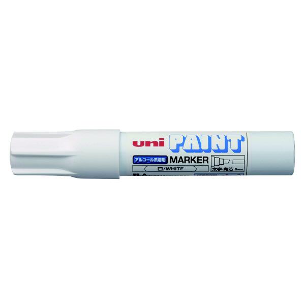三菱鉛筆(uni) アルコールペイントマーカー 太字角芯 白 油性マーカー PXA-300 4本 (直送品)