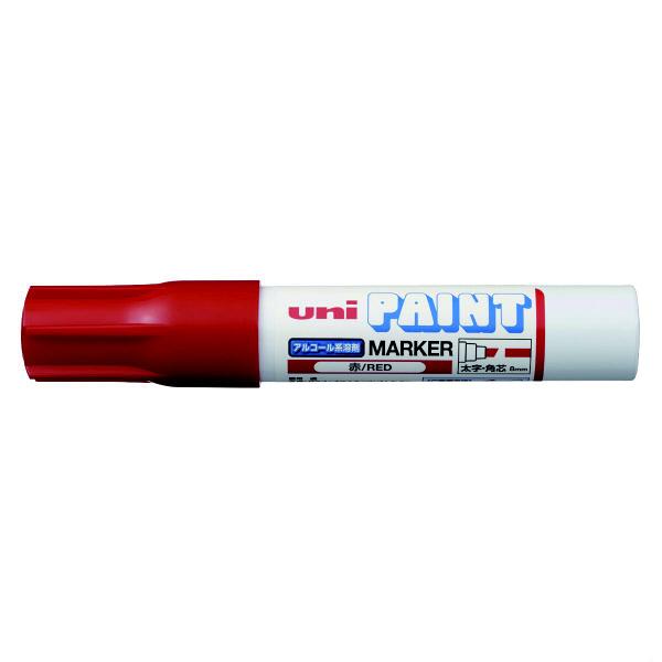 三菱鉛筆(uni) アルコールペイントマーカー 太字角芯 赤 油性マーカー PXA-300 4本 (直送品)