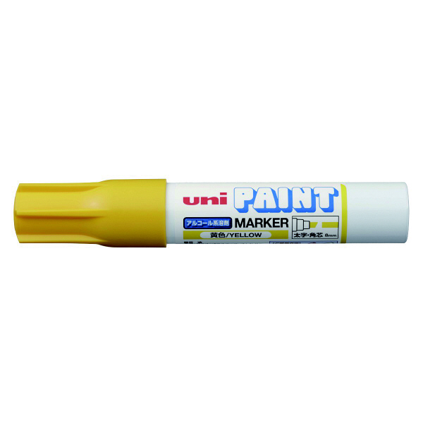 三菱鉛筆(uni) アルコールペイントマーカー 太字角芯 黄 油性マーカー PXA-300 4本 (直送品)