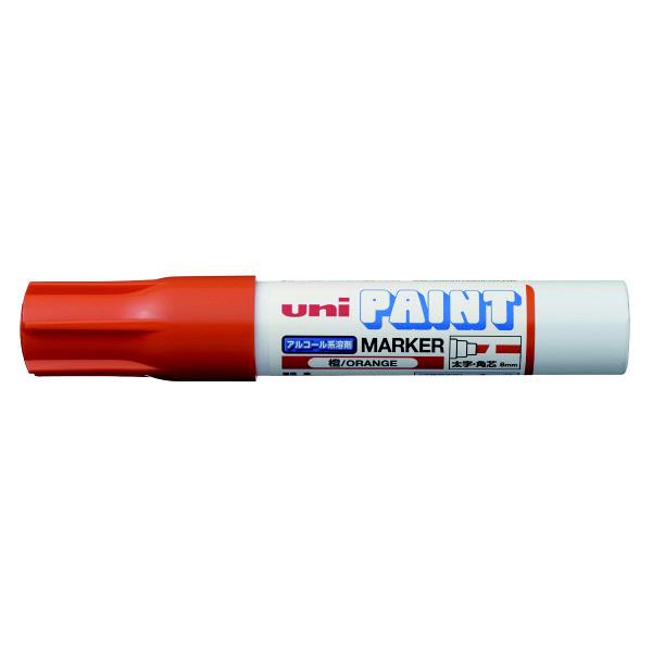 三菱鉛筆(uni) アルコールペイントマーカー 太字角芯 橙 油性マーカー PXA-300 4本 (直送品)