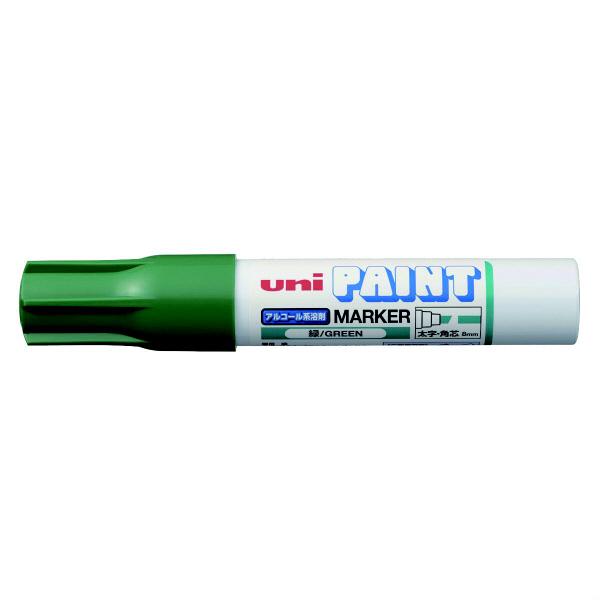 三菱鉛筆(uni) アルコールペイントマーカー 太字角芯 緑 油性マーカー PXA-300 4本 (直送品)