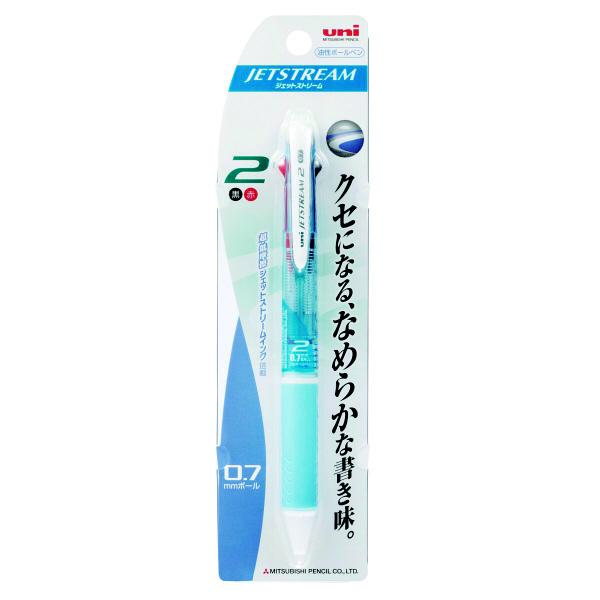 ジェットストリーム 2色ボールペン 0.7mm 水色 SXE2-300-07 4本 三菱鉛筆uni (直送品)