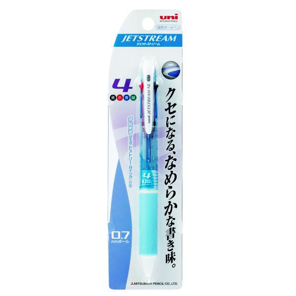 ジェットストリーム 4色ボールペン 0.7mm 水色 SXE4-500-07 2本 三菱鉛筆uni (直送品)