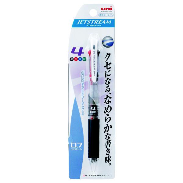三菱鉛筆uni ジェットストリーム ボールペン 透明軸 4色 0.7mm SXE4-500-07 2本 (直送品)