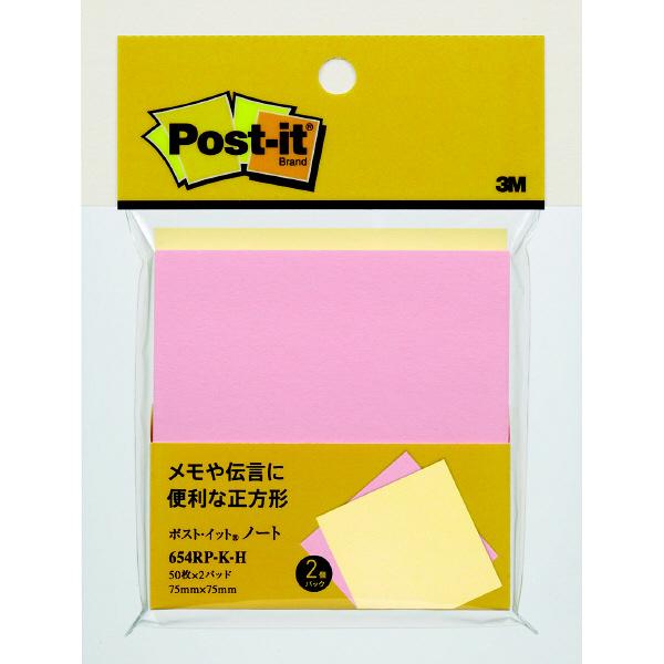 スリーエム ポスト・イット(R)再生紙ノート4個パック 75×75mm 654RP-K-H 4個 (直送品)