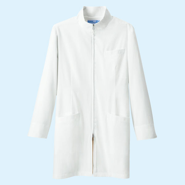 KAZEN メンズジップアップ診察衣(ハーフ丈) ドクターコート 長袖 ホワイト S 113-90 (直送品)
