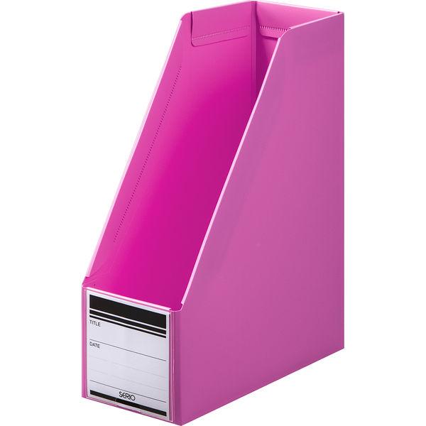ボックスファイル組み立て式 A4タテ 10冊 PP製 ピンク セリオ