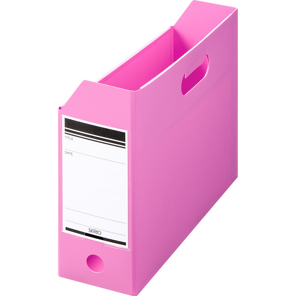 ボックスファイル組み立て式 A4ヨコ 10冊 PP製 ピンク セリオ