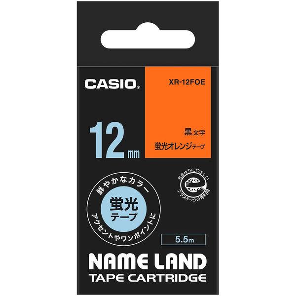 カシオ ネームランドテープ 12mm カラーラベル 蛍光 オレンジテープ(黒文字) 1個 XR-12FOE