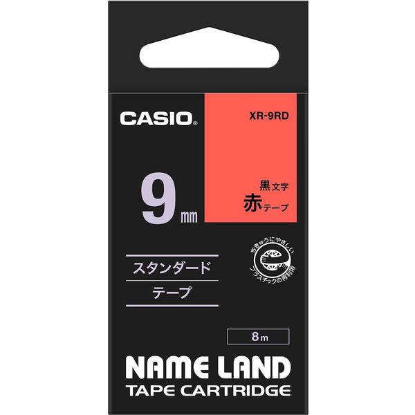カシオ ネームランドテープ スタンダードテープ 9mm 赤テープ(黒文字) 1個 XR-9RD