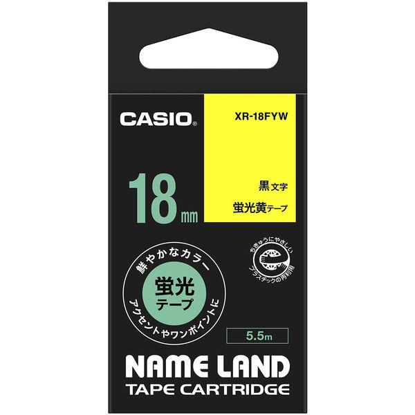 カシオ ネームランドテープ 18mm 蛍光 黄テープ(黒文字) 1個 XR-18FYW