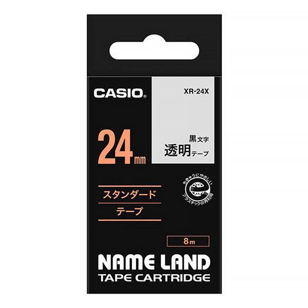 カシオ ネームランドテープ スタンダードテープ 24mm 透明テープ(黒文字) 1個 XR-24X