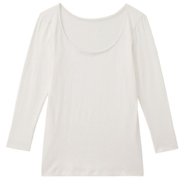 綿混あったかUネック八分袖シャツ 婦人M