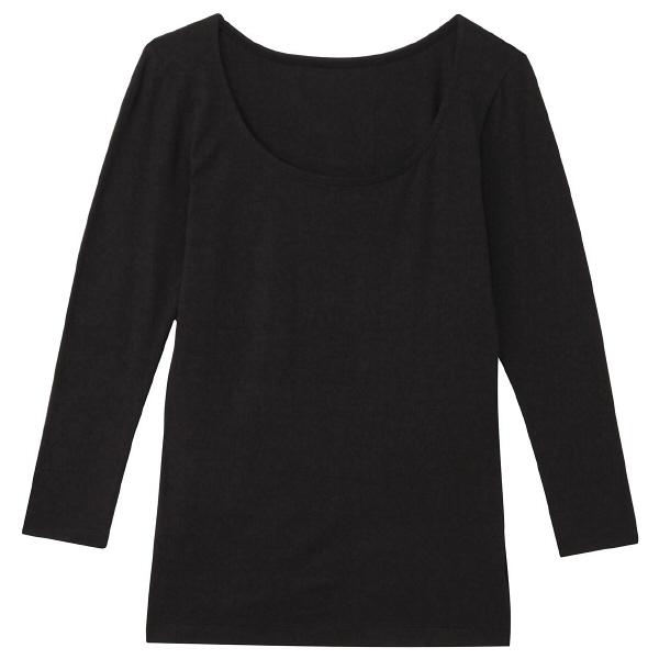無印 あったかUネック八分袖シャツ婦人L