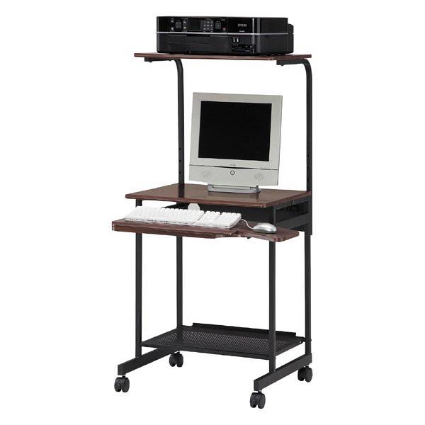 白井産業 PCデスク(複合機設置タイプ) ダークブラウン (直送品)