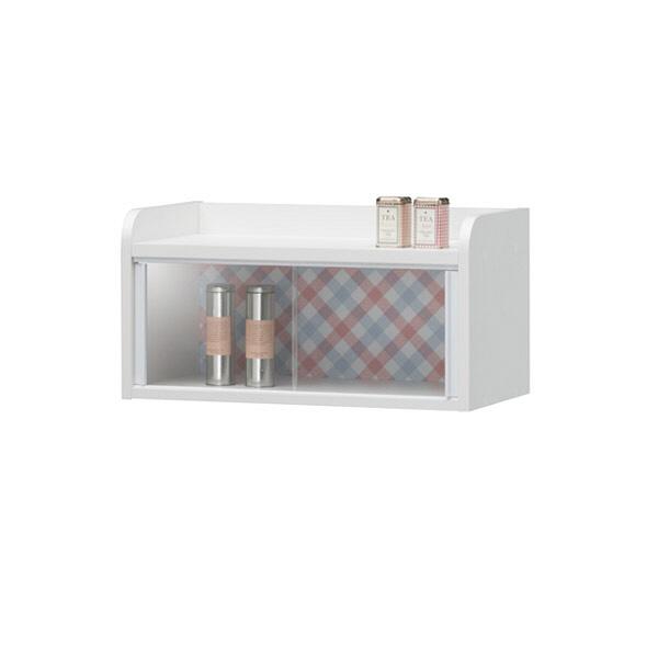 白井産業 チェック柄がかわいい壁掛けカップボード (直送品)