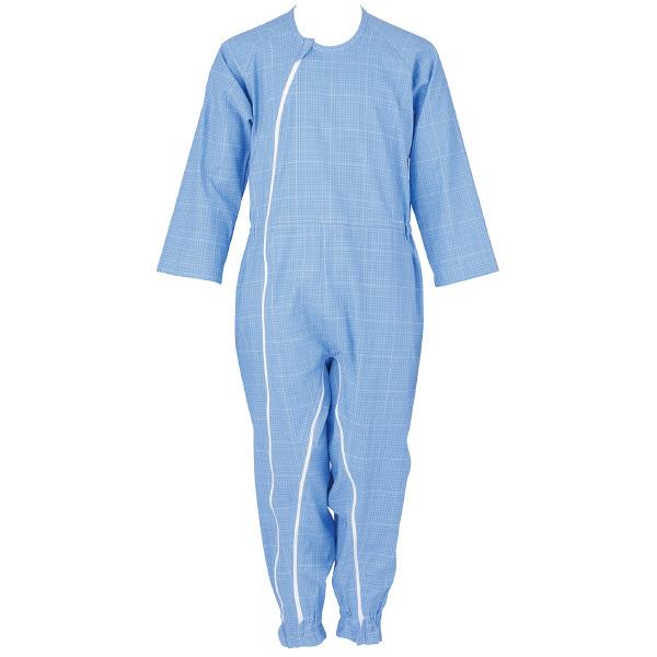 介護つなぎ服(前開き)ブルー LL 403420-10 フットマーク (取寄品)