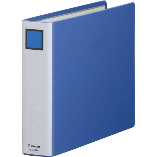 キングファイル スーパードッチ 脱着イージー A4ヨコ とじ厚40mm 青 キングジム 両開きパイプファイル 2484Aアオ