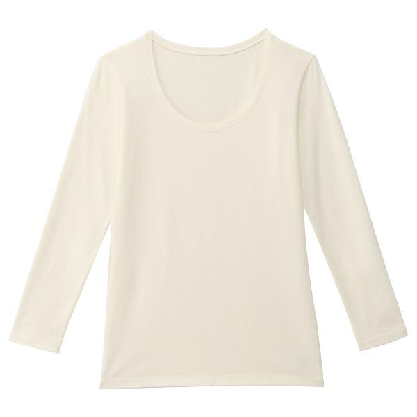 コットンウールストレッチあったかUネック九分袖シャツ 婦人L・オフ白 38248965 無印良品