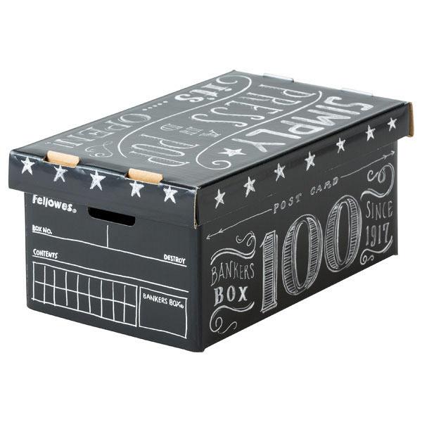 バンカーズボックスミニ 101 チョーク黒 3枚 フェローズジャパン 外寸:幅105×奥行170×高さ75mm