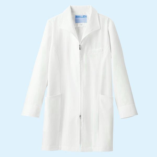 KAZEN レディスジップアップ診察衣(ハーフ丈) ドクターコート 医療白衣 長袖 ホワイト S 128-90