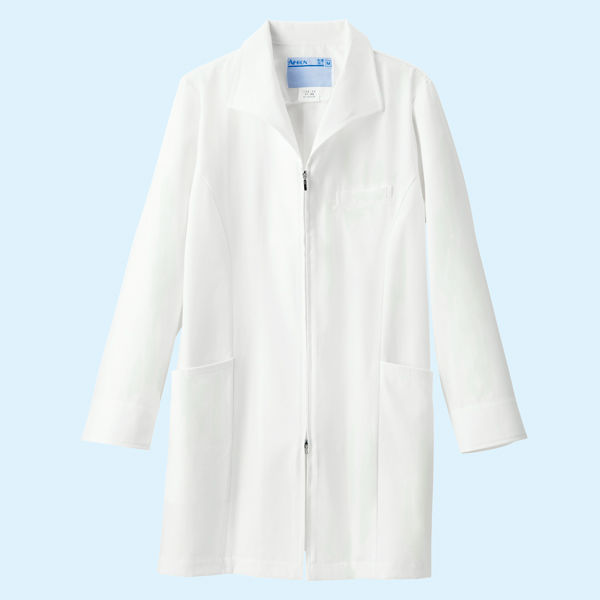 KAZEN レディスジップアップ診察衣(ハーフ丈) ドクターコート 医療白衣 長袖 ホワイト LL 128-90