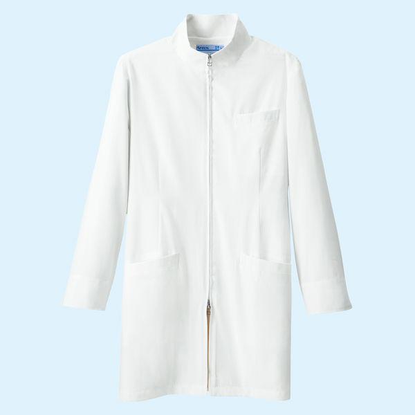 KAZEN メンズジップアップ診察衣(ハーフ丈) ドクターコート 長袖 ホワイト M 113-90