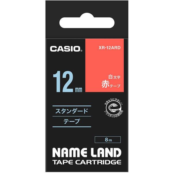 カシオ ネームランドテープ スタンダードテープ 12mm 赤テープ(白文字) 1個 XR-12ARD