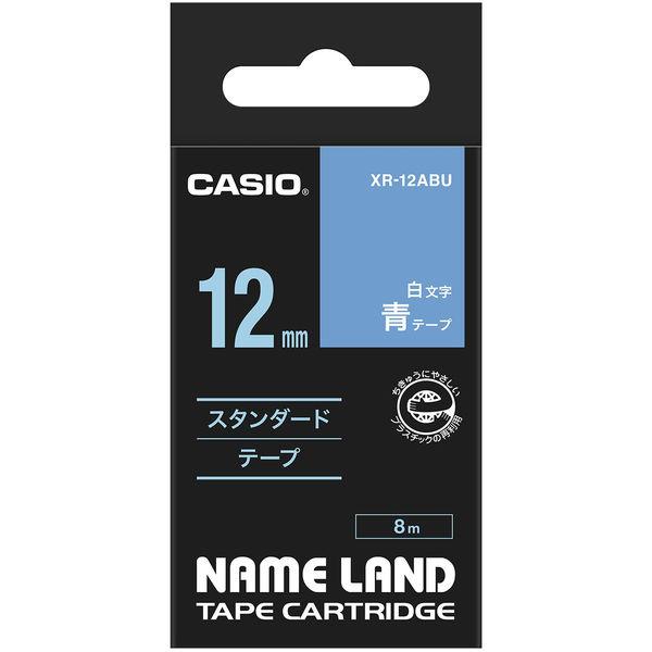 カシオ ネームランドテープ スタンダードテープ 12mm 青テープ(白文字) 1個 XR-12ABU