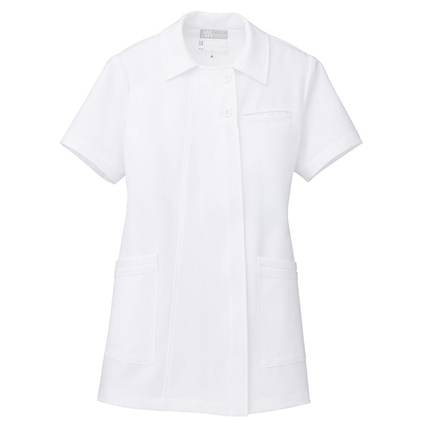 AITOZ(アイトス) オープンネックチュニック(ナースジャケット) 半袖 ホワイト S 861369-001