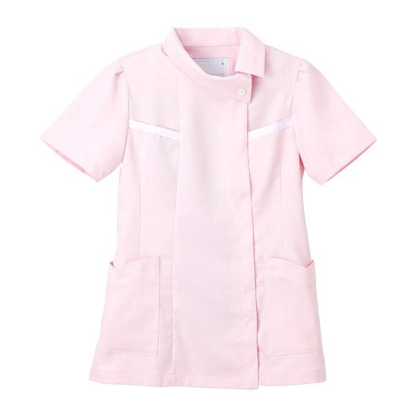 ナガイレーベン チュニック(ロールカラー) 医療白衣 半袖 ピンク EL FE-4522 (取寄品)