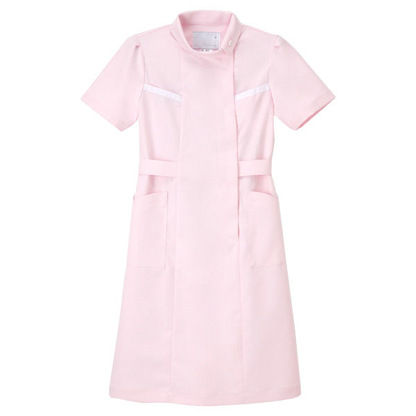 ナガイレーベン ワンピース(ロールカラー) ナースワンピース 医療白衣 半袖 ピンク EL FE-4527 (取寄品)
