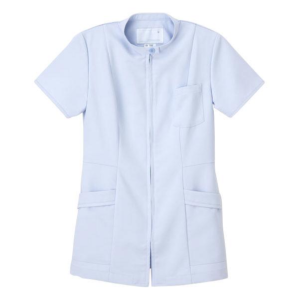 ナガイレーベン 女子上衣 医療白衣 半袖 ブルー EL CB-1532 (取寄品)