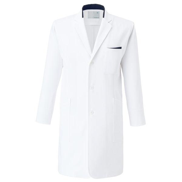 トンボ 医療白衣(薬局衣) ウィキュア メンズコート CM772 ホワイト×ネイビー L 1枚 (取寄品)