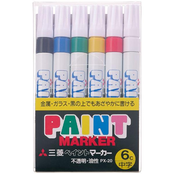 三菱鉛筆(uni) ペイントマーカー 中字 6色セット 油性マーカー PX-20