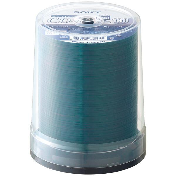 ソニー 日本製CD-R700MBスピンドルケース インクジェットプリント対応ホワイト 1=48倍速 100CDQ80PWA 1パック(100枚)