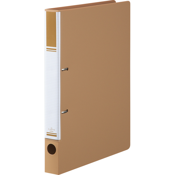 リングファイル D型2穴 A4タテ 背幅31mm 10冊 ライトブラウン アスクル