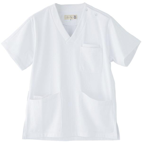 フランシュリッペ 半袖スクラブ ホワイト S MS-21031 医療白衣 レディススクラブ 1枚 (取寄品)