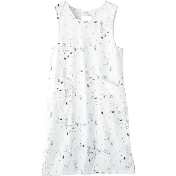 フランシュリッペ エプロン(ロング丈) ホワイト(スケッチ柄) MS-21072P 医療白衣 エプロン 予防衣 1枚 (取寄品)