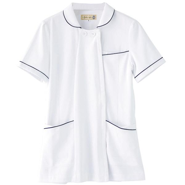 フランシュリッペ チュニックパイピングカラー ホワイト L MS-21011 医療白衣 ナースジャケット 1枚 (取寄品)