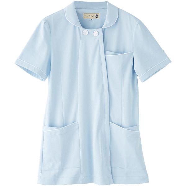 フランシュリッペ チュニックパイピングカラー サックス L MS-21011 医療白衣 ナースジャケット 1枚 (取寄品)