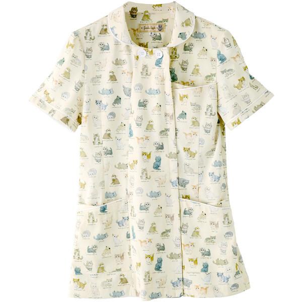 フランシュリッペ チュニックパイピングカラー アイボリー(ねこ図鑑柄) LL MS-21012P 医療白衣 ナースジャケット 1枚 (取寄品)