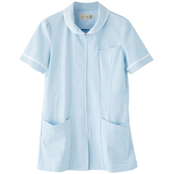 フランシュリッペ チュニックラウンドカラー サックス M MS-21021 医療白衣 ナースジャケット 1枚 (取寄品)