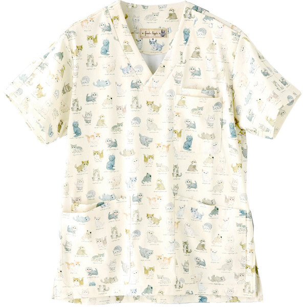 フランシュリッペ 半袖スクラブ アイボリー(ねこ図鑑柄) LL MS-21032P 医療白衣 レディススクラブ 1枚 (取寄品)