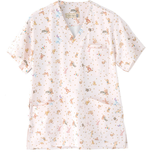 フランシュリッペ 半袖スクラブ ピンク(ぬいぐるみ柄) S MS-21032P 医療白衣 レディススクラブ 1枚 (取寄品)