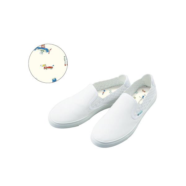 フランシュリッペ スリッポンスニーカー ホワイト×TOY柄プリント M 90002P ナースシューズ 1足 (取寄品)